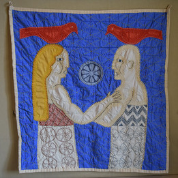 Lovers, 2018. 86x80 cm, cloth and hand sewing