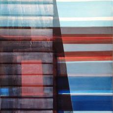 Deep Blue, 2016 encres et pigments sur toile 100 x 70 cm © Ola Abdallah