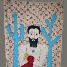 King, 2018. 190x134cm, cloth and hand sewing.