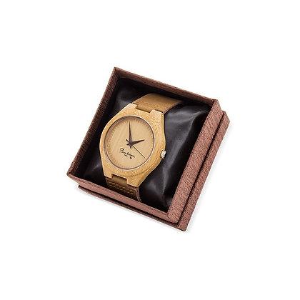 Reloj bambú y correa de piel