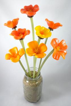 Glass CA Poppy Flowers