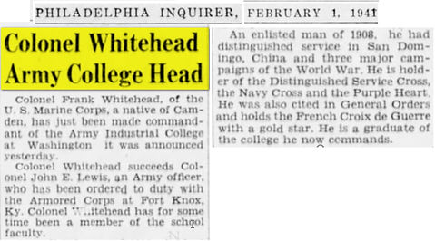 whitehead - AIC 1941 appt commandant 2.j