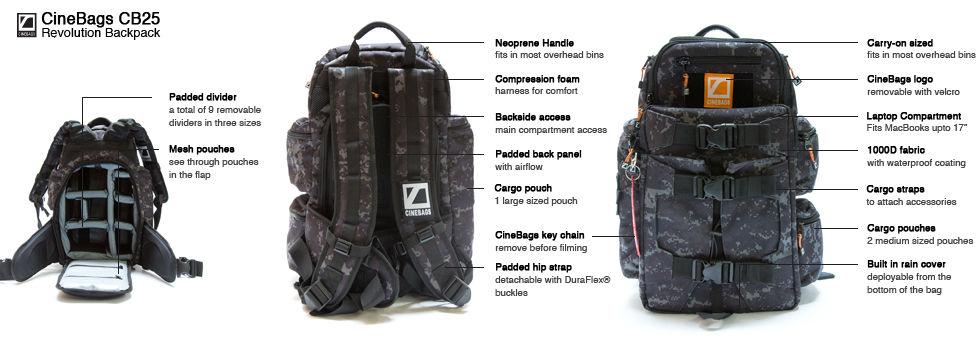 CineBags Revolution Backpack, camera backpack, laptop and camera bag, waterproof camera backpack, professional camera backpack, CineBags CB25 Revolution backpack