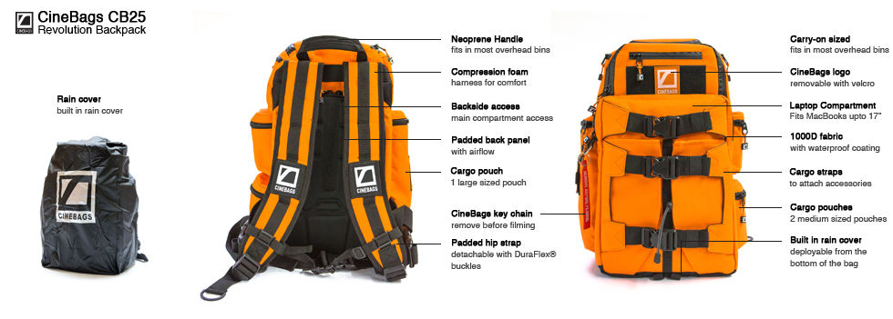 CineBags Revolution Backpack, camera backpack, laptop and camera bag, waterproof camera backpack, professional camera backpack, CineBags CB25 Revolution backpack limited edition, fire orange