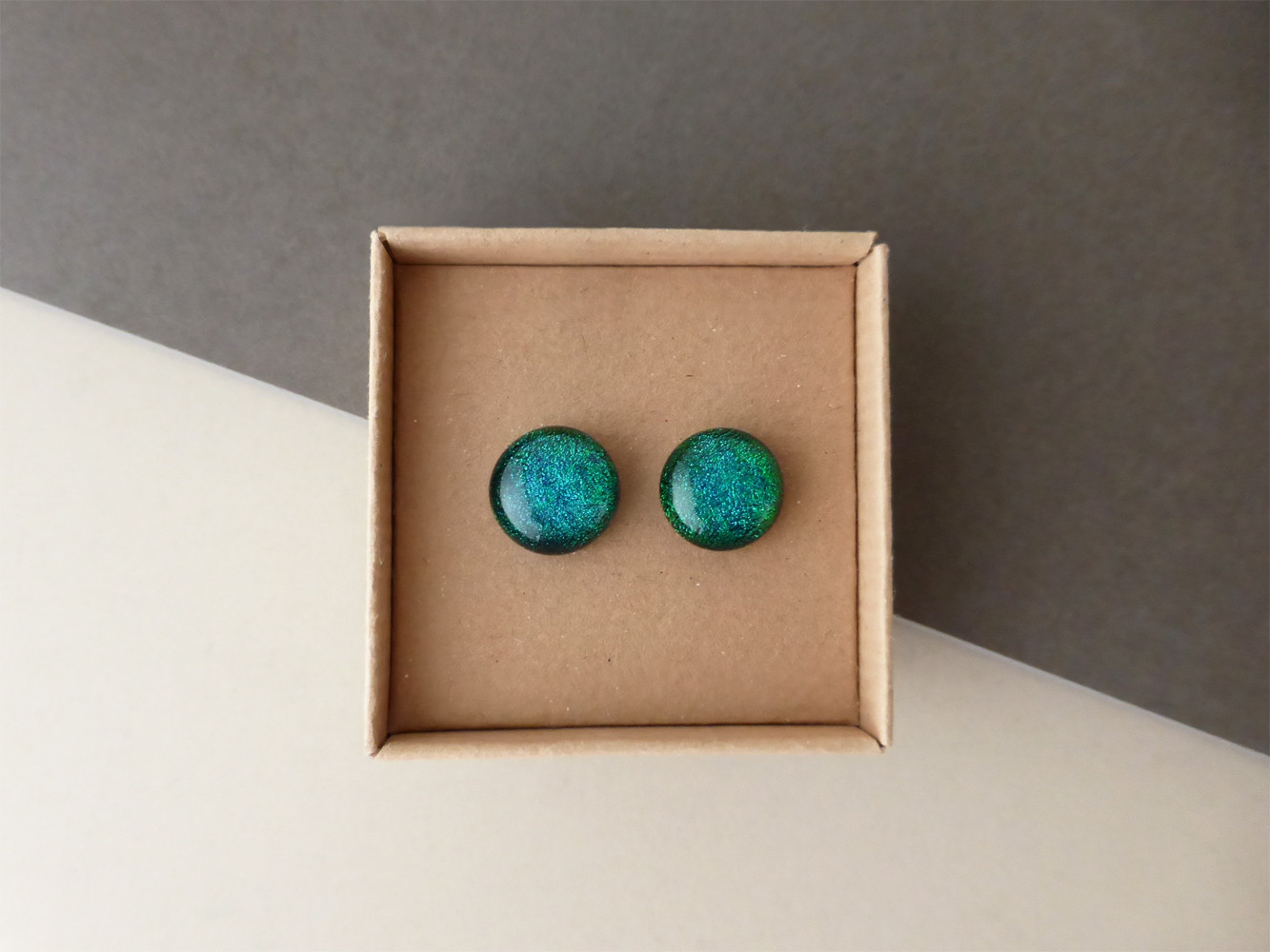 Sparkly Peacock Blue Studs