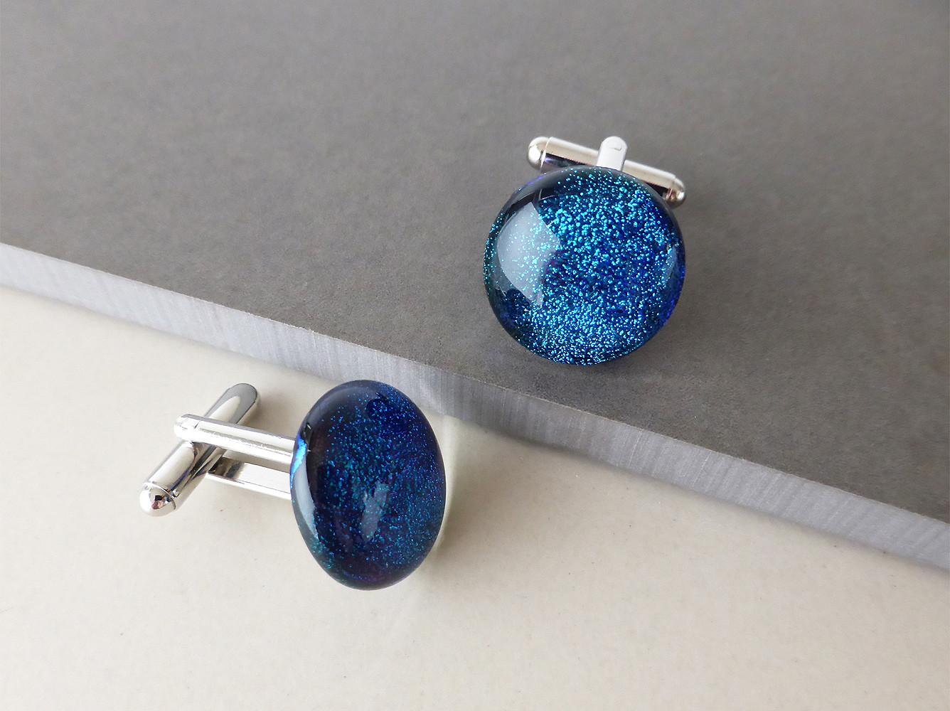 Sparkly Blue Cufflinks