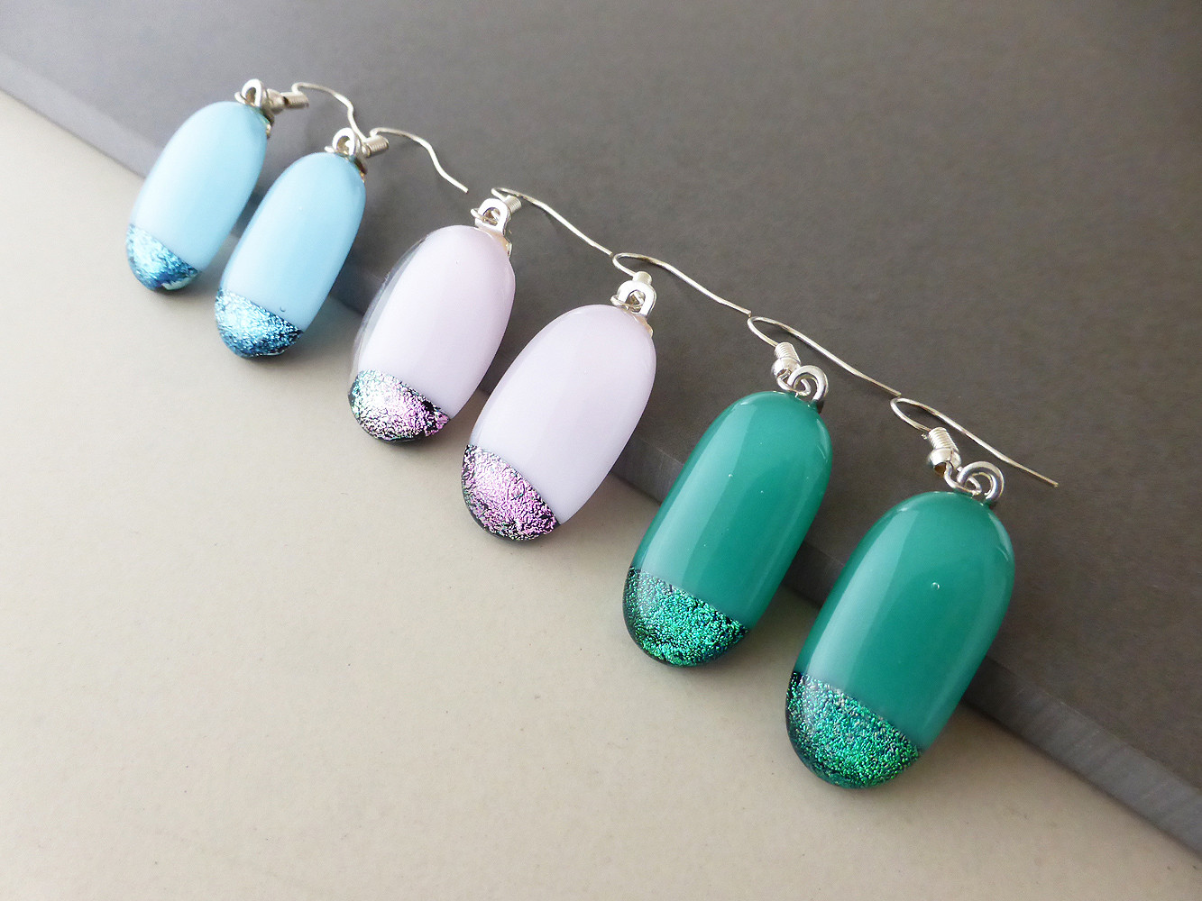 Sparkly Dipped Drop Earrings