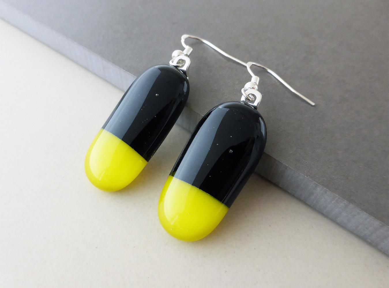 Black/Yellow Drop Earrings
