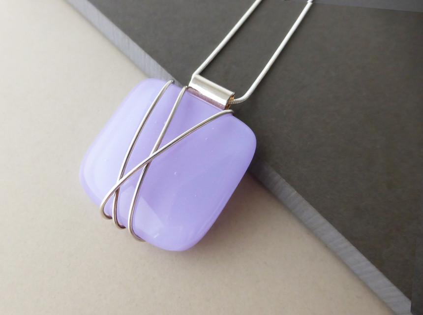 Lilac Wire Wrap Pendant