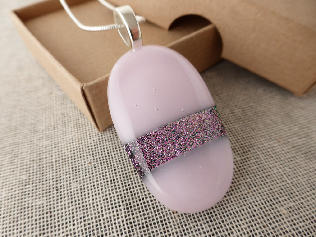 Pink and Sparkly Ovoid Pendant