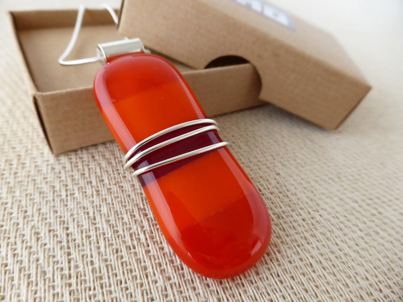 Orange & Red striped Wire Wrap Pendant
