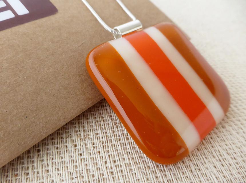 Large Orange & Cream Striped Square