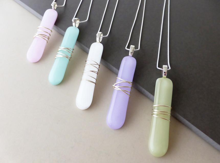 Wire Wrap Long Pastels Pendants