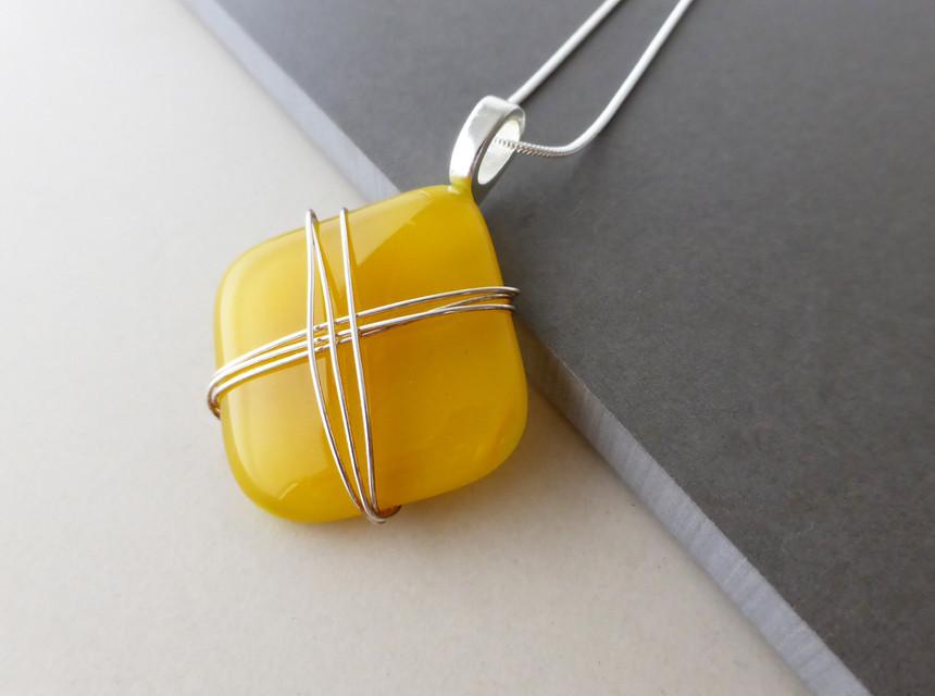 Deep Yellow Wire Wrap Pendant