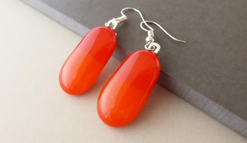 Red/Orange Drop Earrings