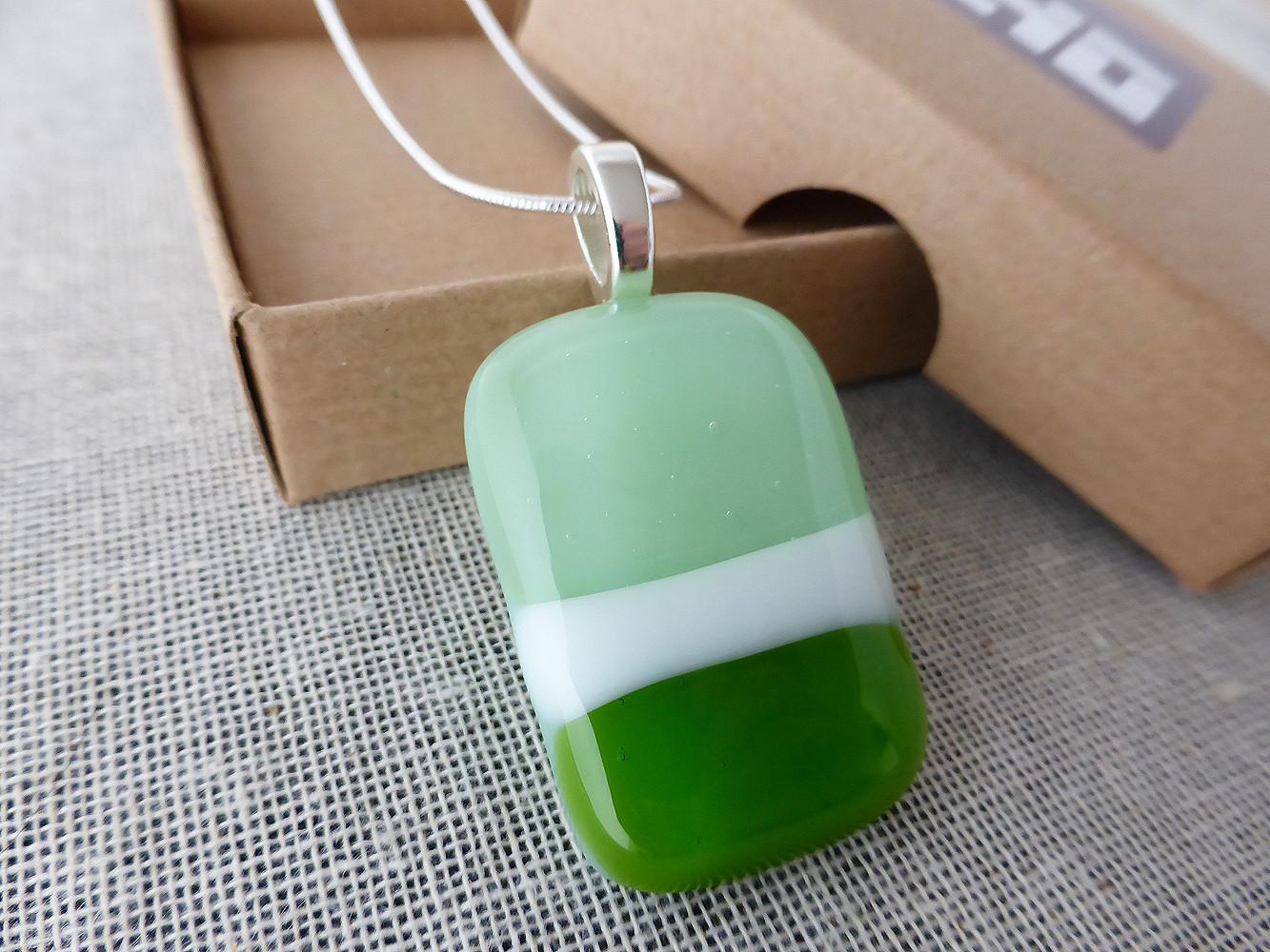 Mint & Green Striped Pendant