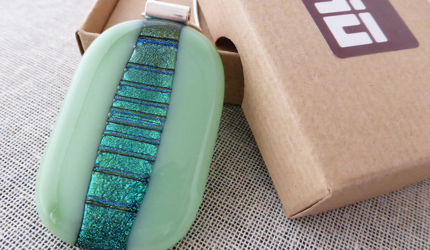 Mint & Green Sparkly Accordian Pendant