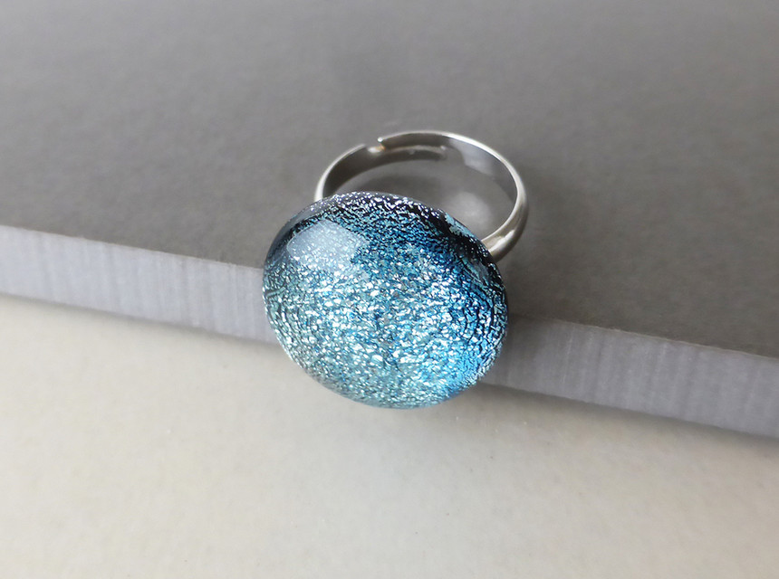 Sparkly Silver/Blue Ring