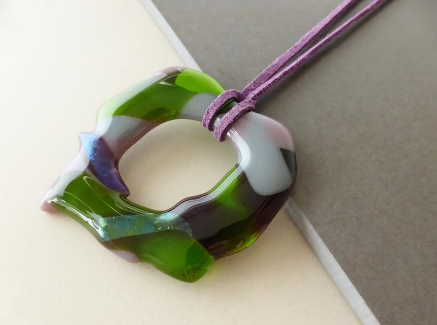 Large Green Crackle Pendant