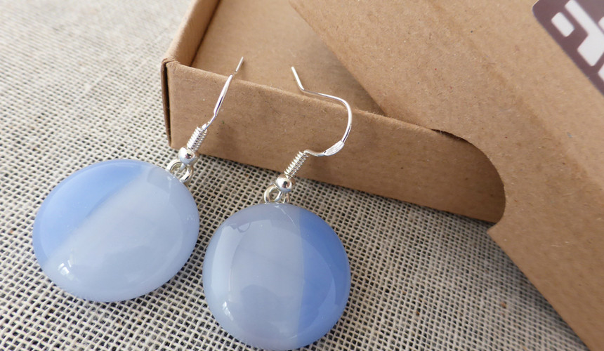 Duo Blue Round Drop Earrings