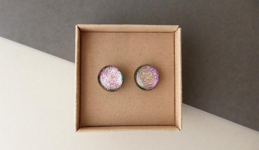 Sparkly Pink Studs