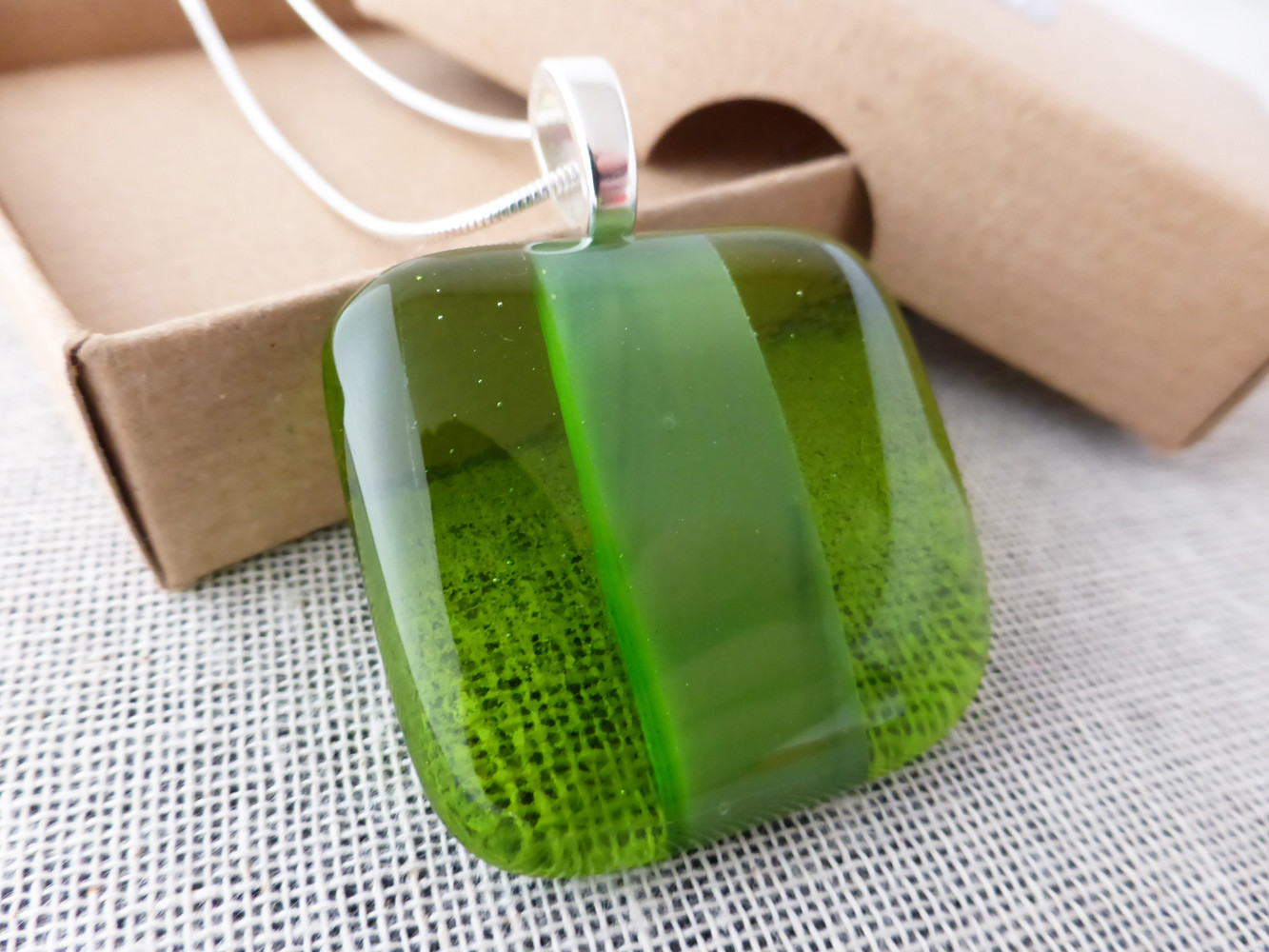 Forest & Clear Green Striped Pendant