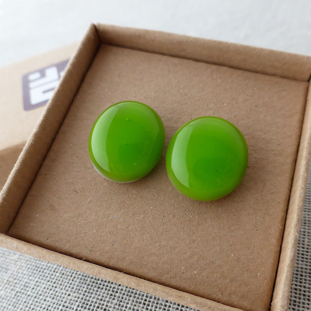 Green Oval Studs
