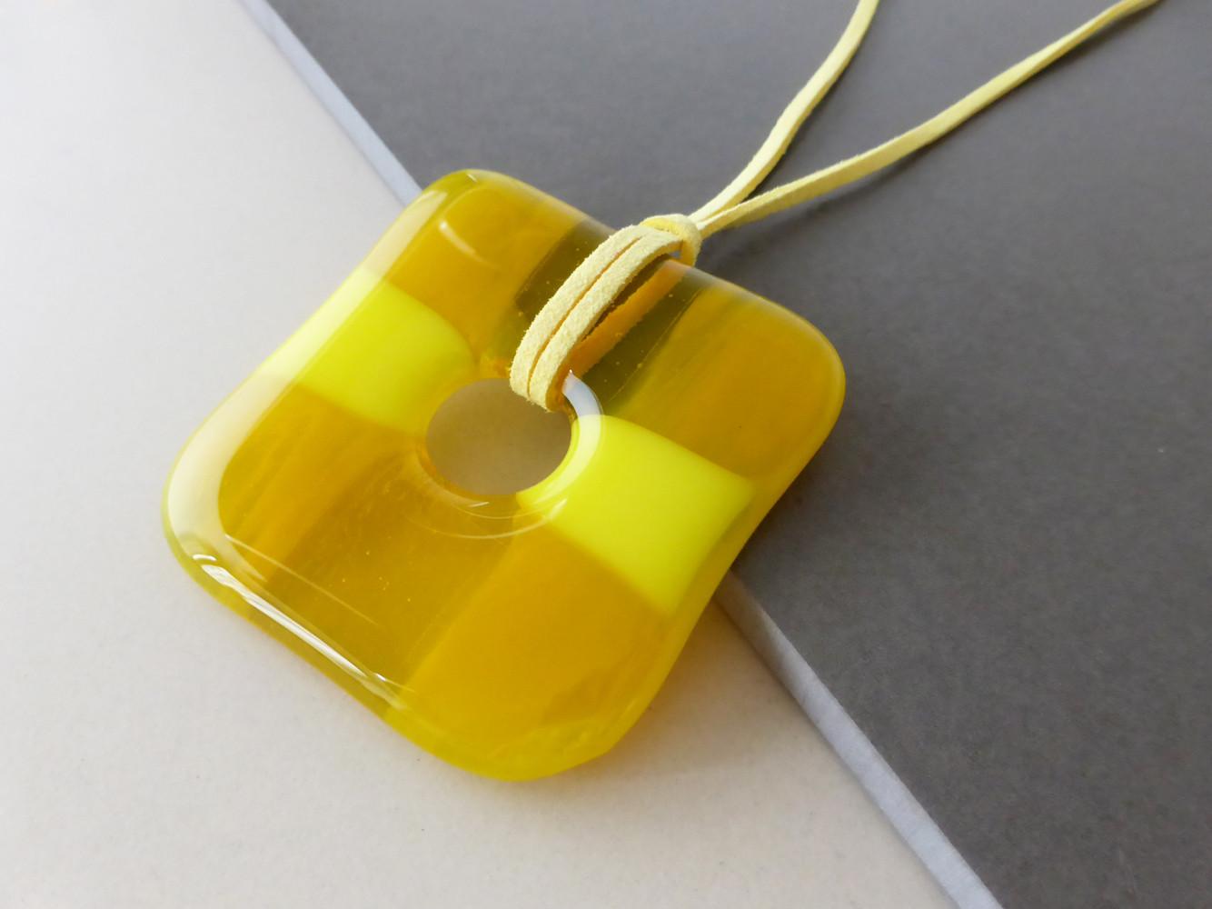 Large Yellow Square Pendant