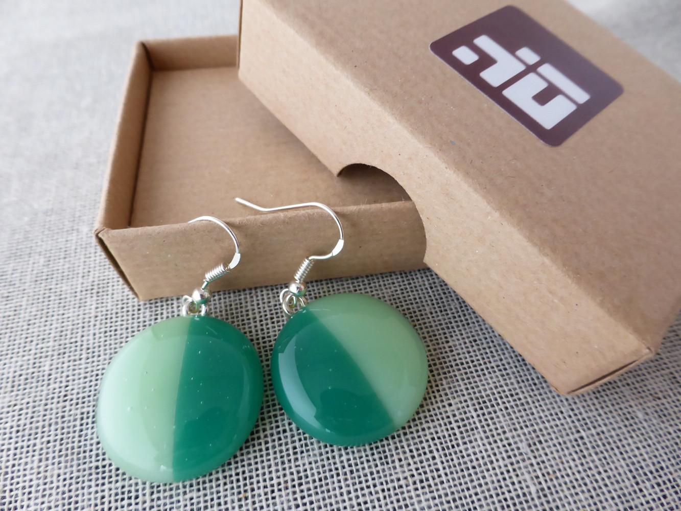 Duo Green Round Drop Earrings