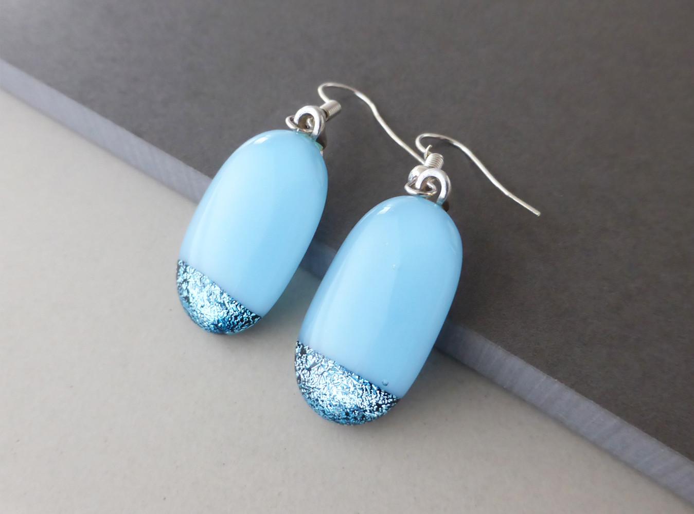 Sparkly Blue Drop Earrings