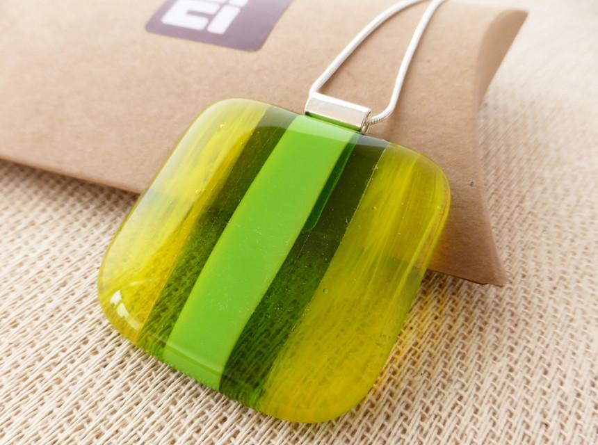 Large Green & Yellow Square Stripe