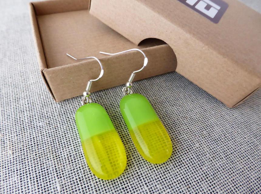 Green & Yellow Drop earrings
