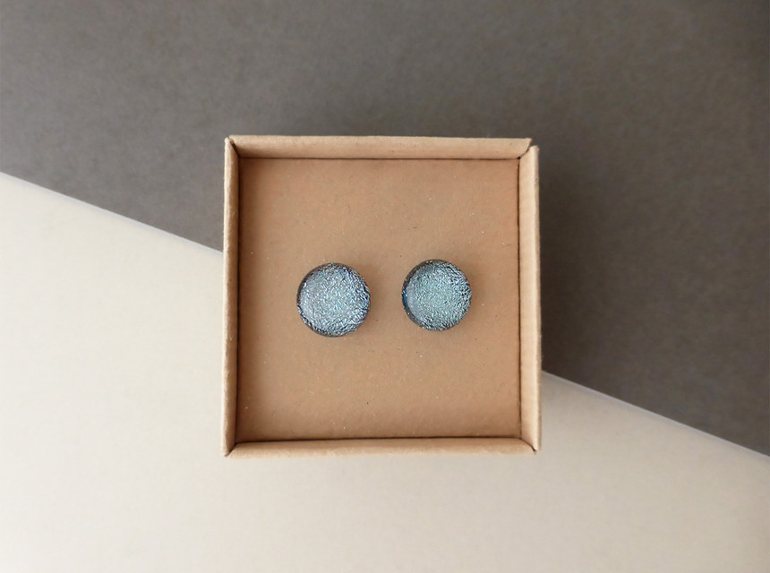 Sparkly Silver/Blue Studs