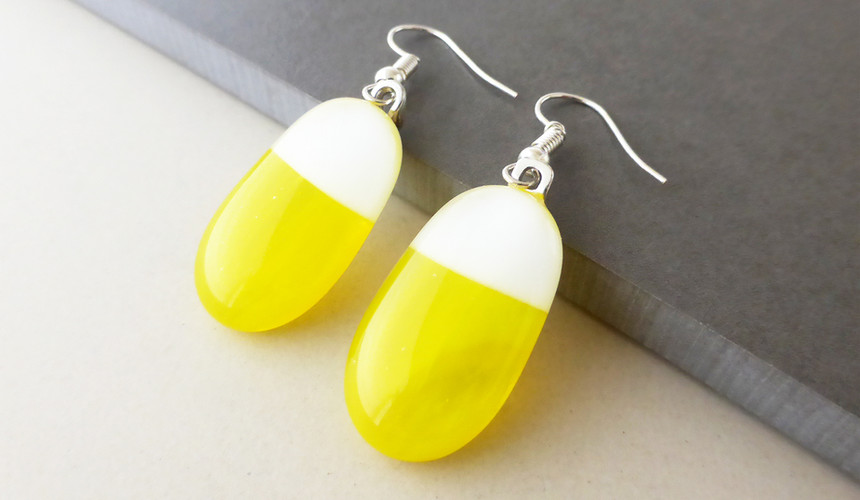 Yellow/White Drop Earrings