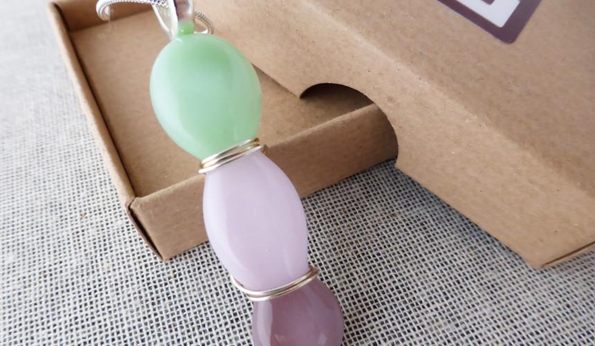 Pink & Green Belw Wrap Pendant
