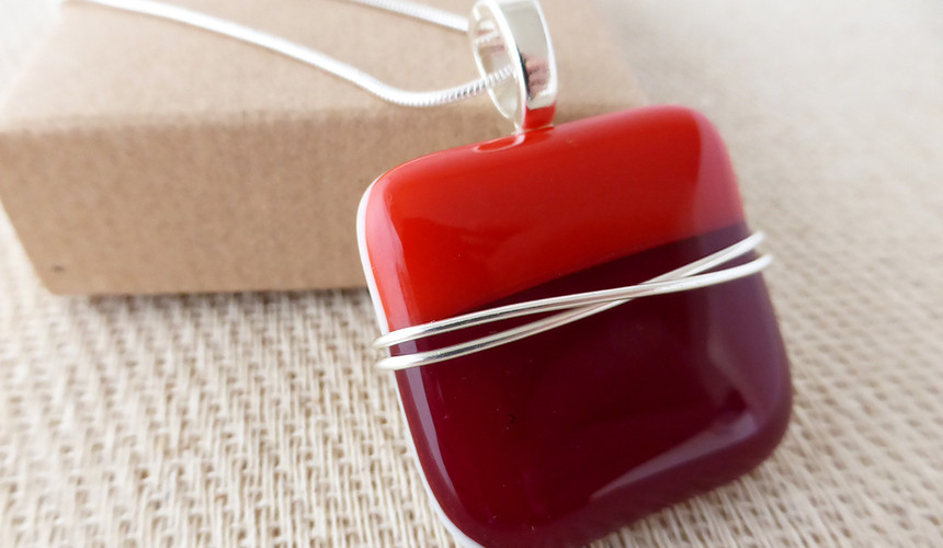 Duo Red Wirewrapped Square Pendant