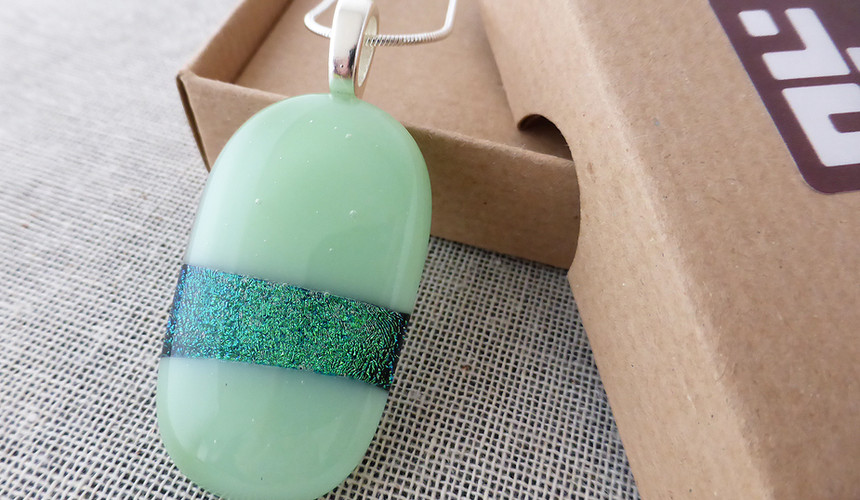 Mint and Sparkly Ovoid Pendant
