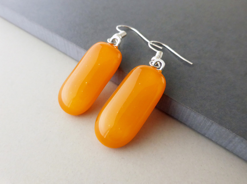 Pumpkin Orange Drop Earrings