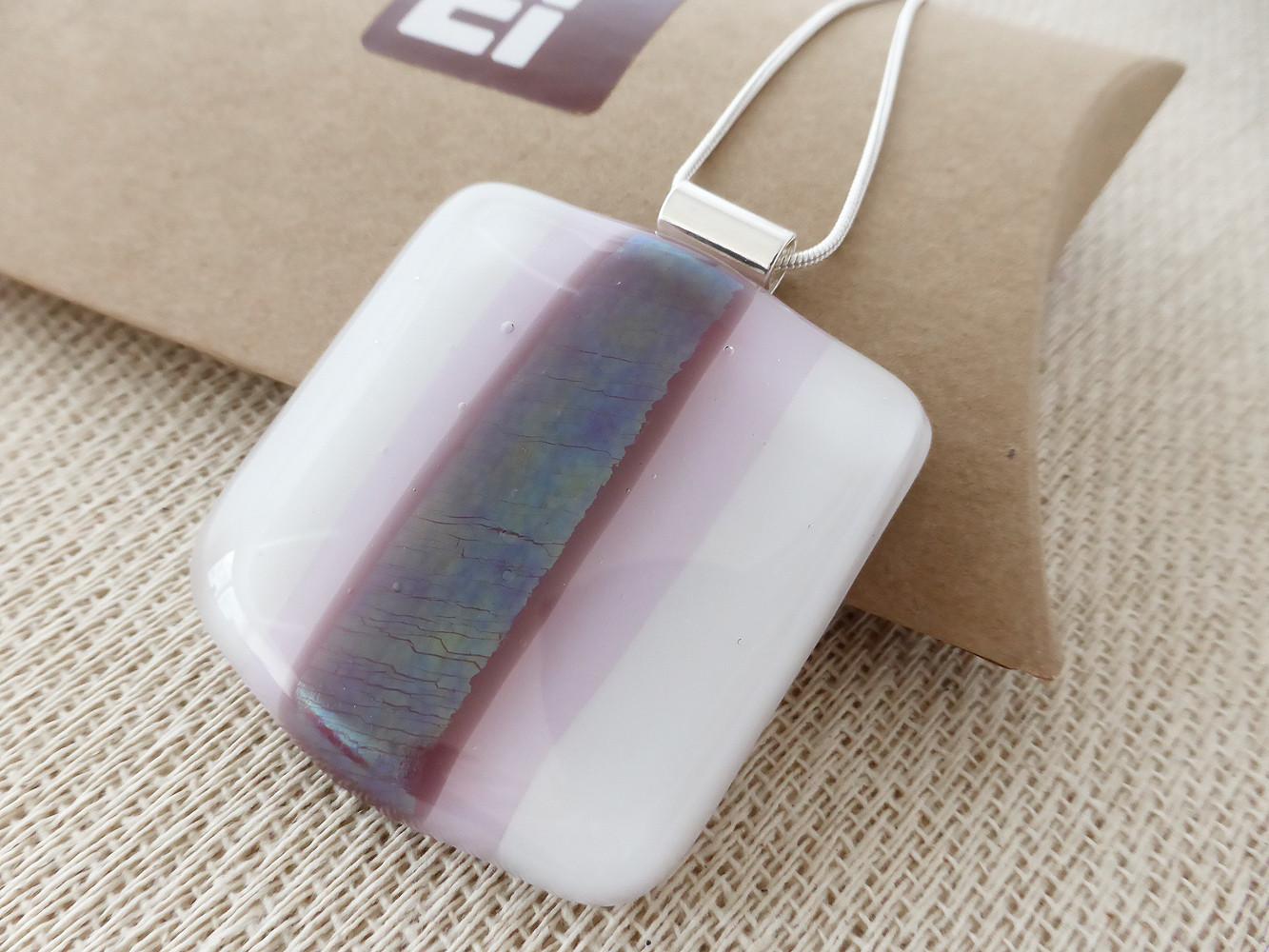 Large White & Purple Striped Square