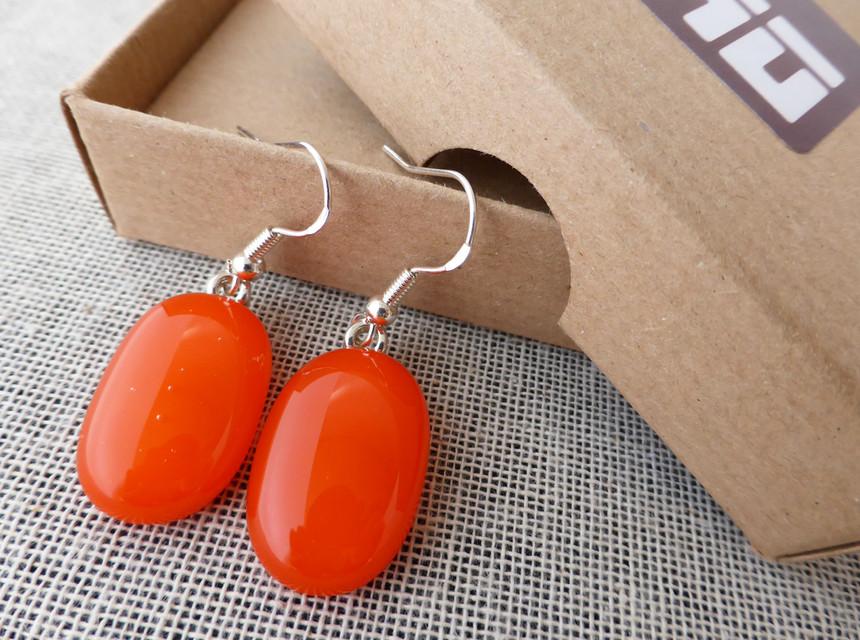 Tangerine Ovoid Drop Earrings