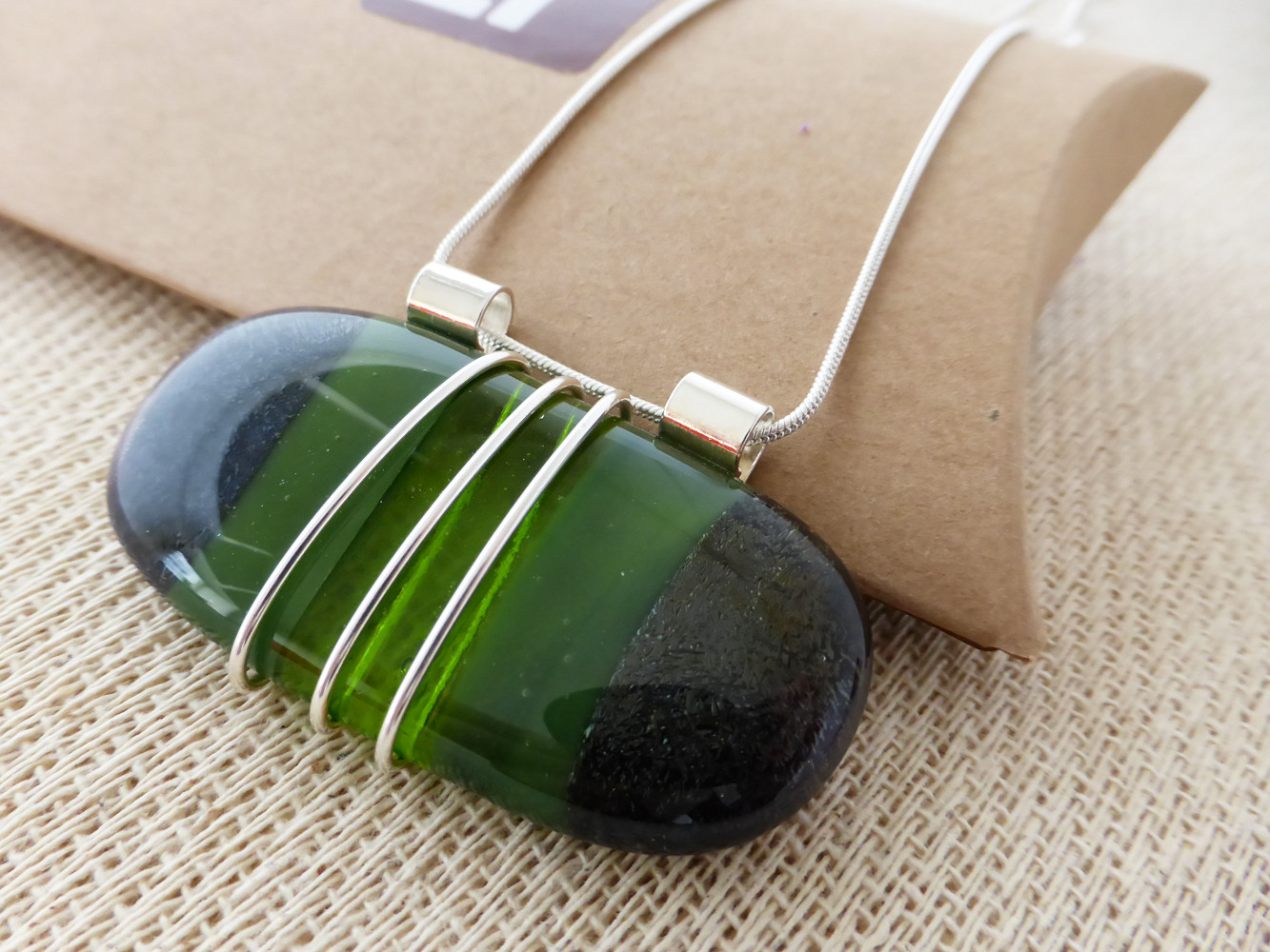 Green Long Oval Wire Wrapped Pendant