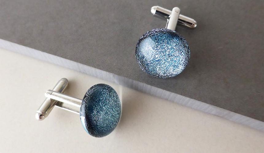 Sparkly Silver/Blue Cufflinks