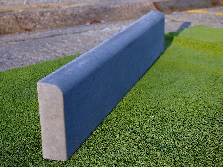 Half round concrete edging in slate colouring