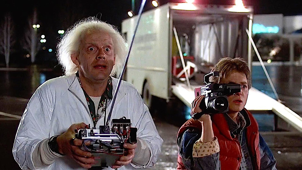 Marty and Doc looking at something