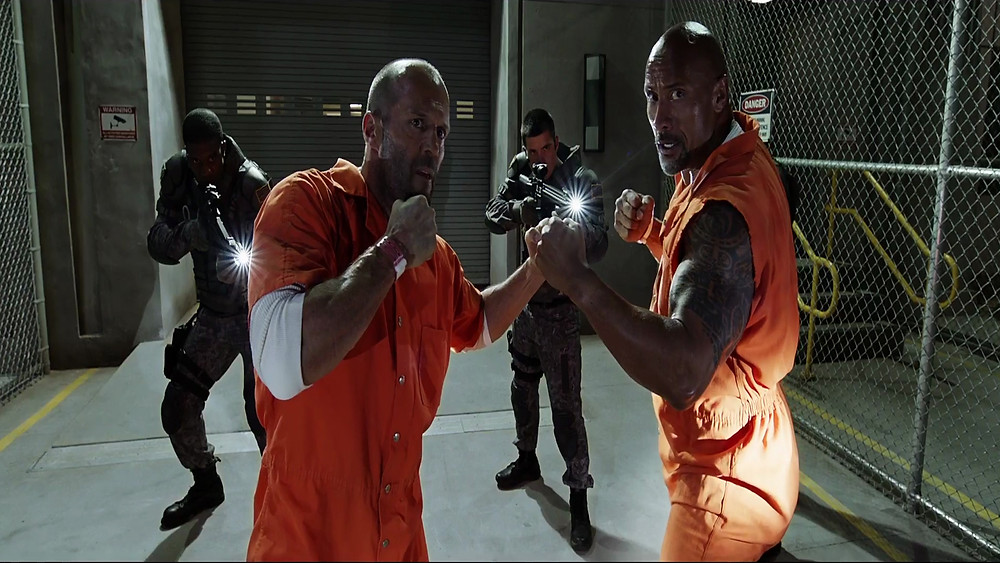 The Rock and statham facing off