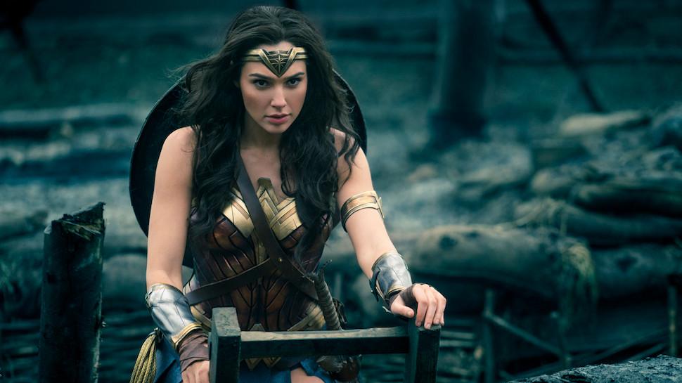 Wonder Woman climbing ladder