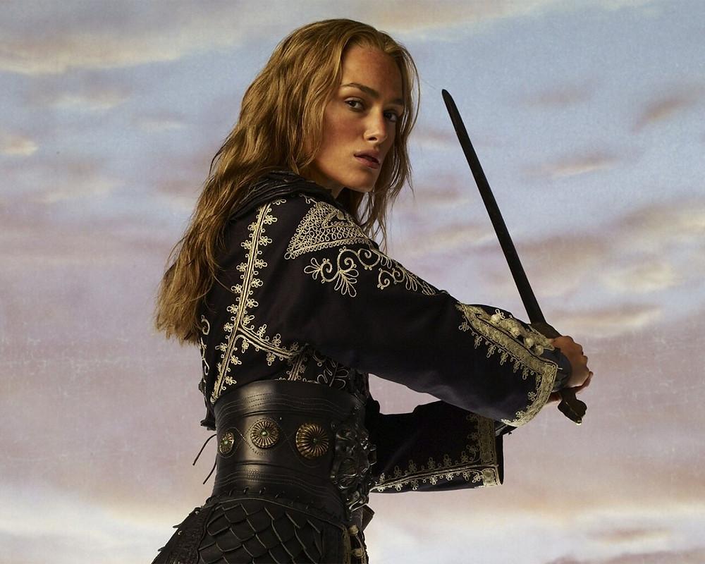 Keira Knightley holding sword