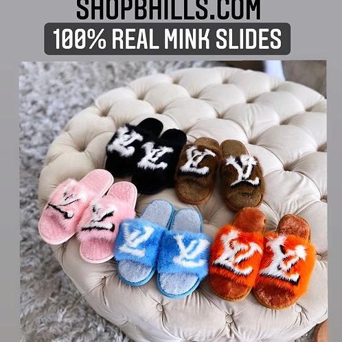 100% Mink Fur slippers (open