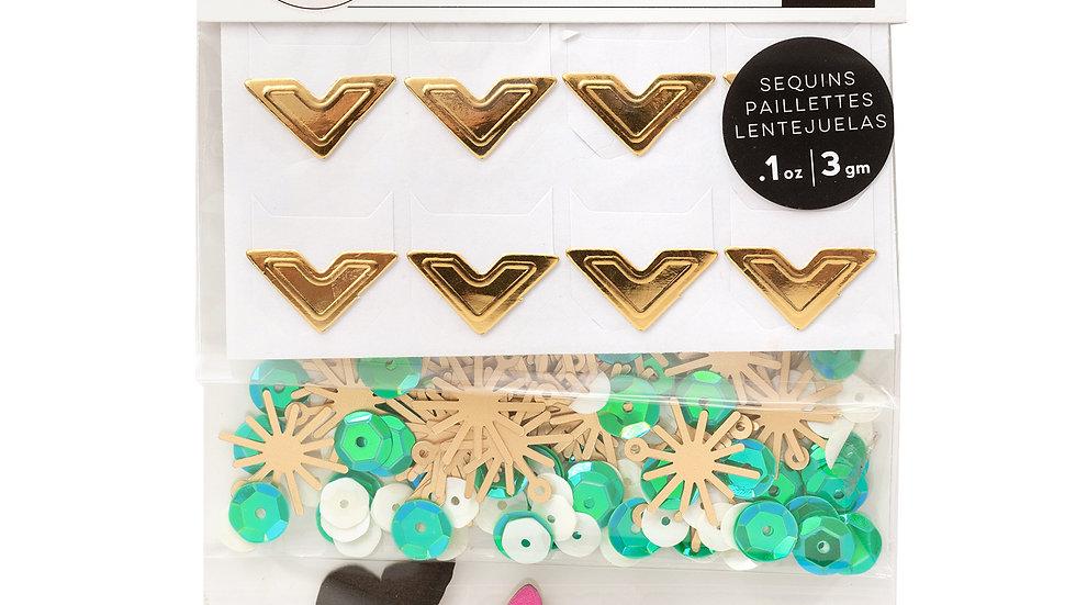 25 Embellishments/Enfeite - Coleção 5th and Monaco - Pink Paislee