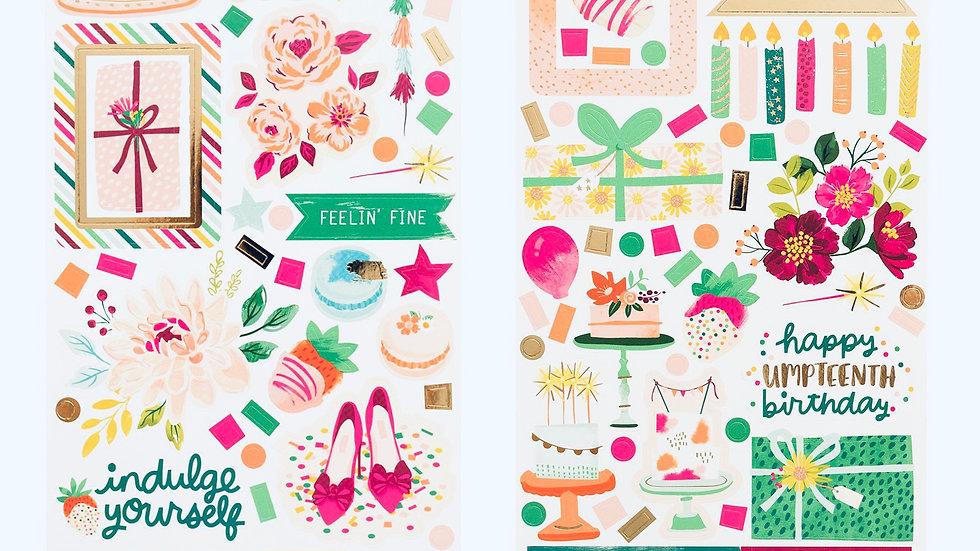 Cartela de 119 Adesivos - Coleção And Many More Pink Paislee